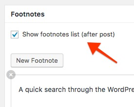 WordPress Footnotes Manager Groups