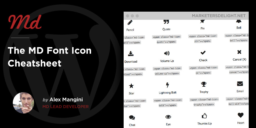 Marketers Delight Font Icons Reference List