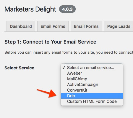 Connect Drip to Marketers Delight