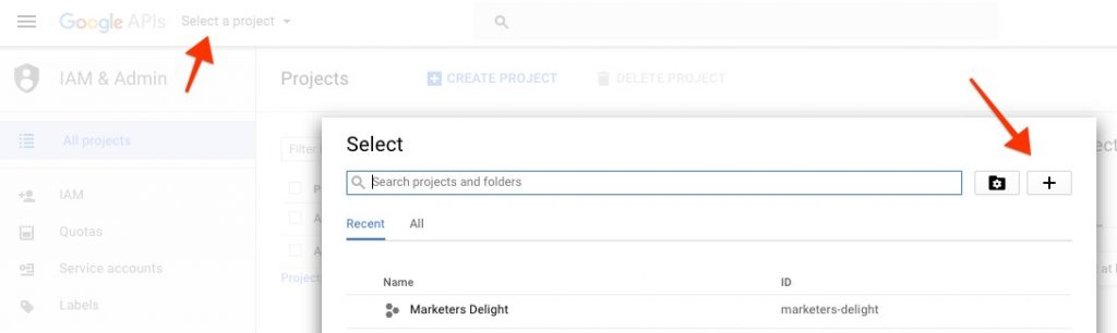 Create a new Google project