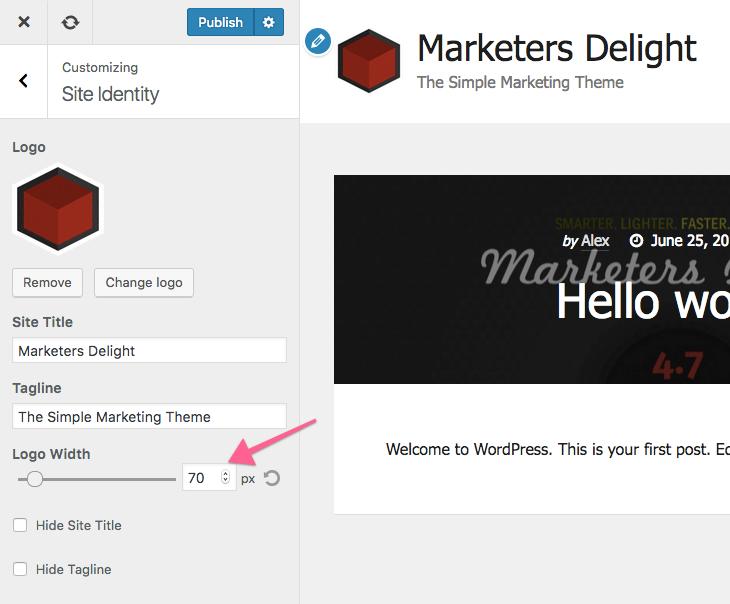 Site Title and Tagline WordPress Customizer