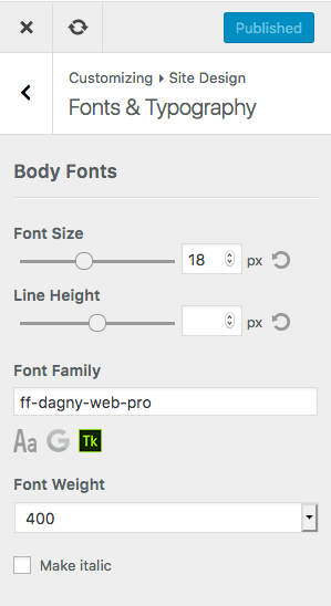 MD Customizer Typography Settings