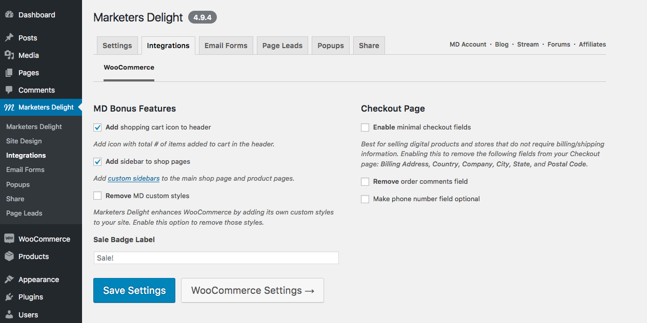 Marketers Delight and WooCommerce integration