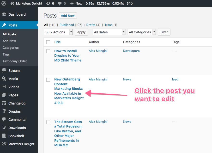 How to edit posts in WordPress