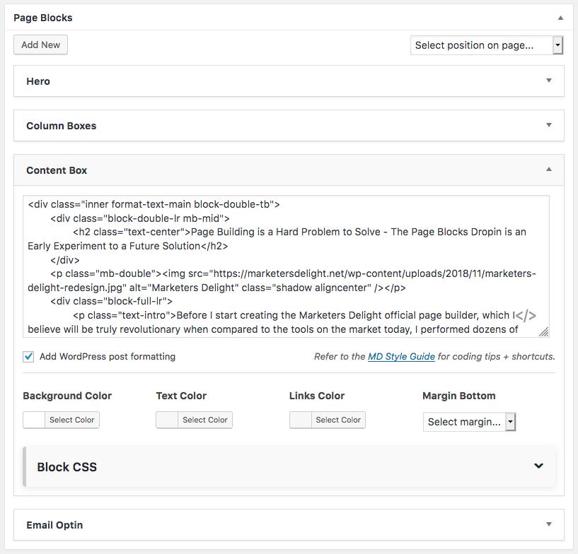 Page Blocks custom post meta box