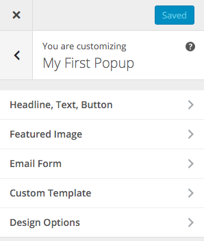 MD Popups Customizer Panel