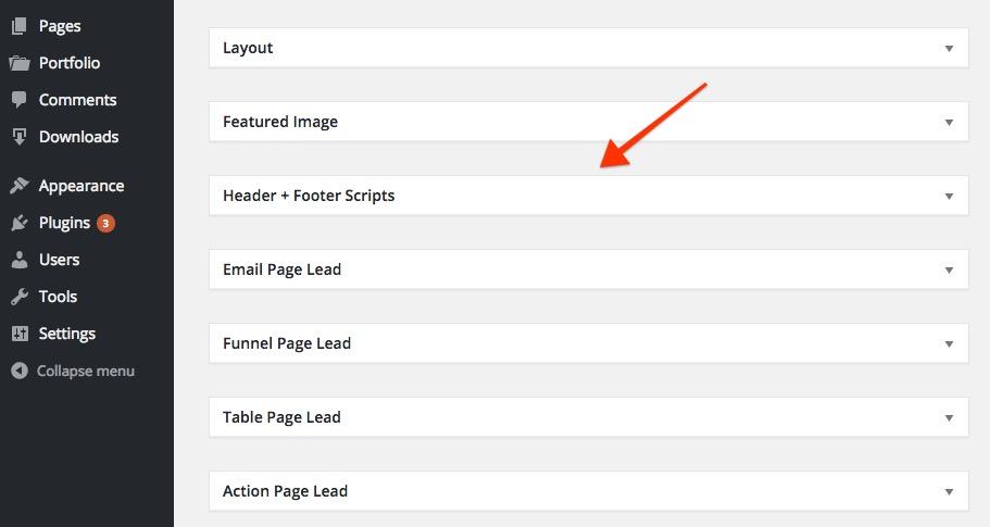 Header + Footer Tracking Scripts WordPress