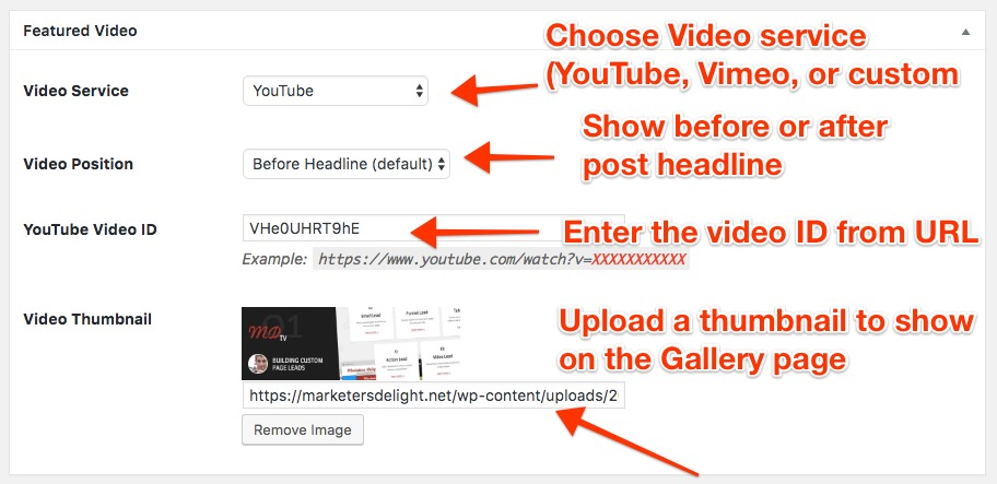 Featured Video meta box