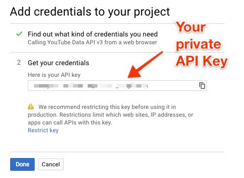 Get YouTube API Key