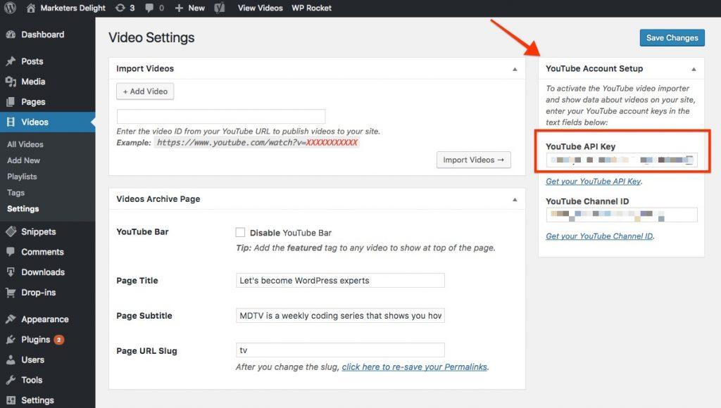 Add YouTube API key to video settings