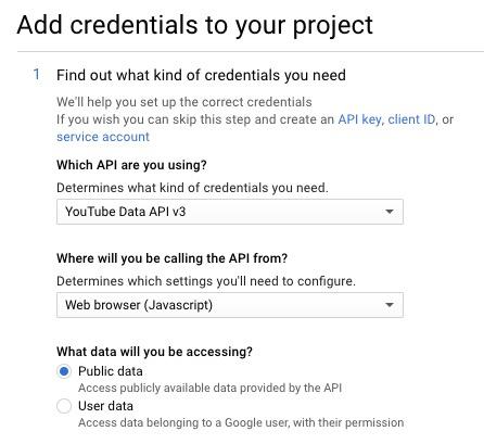YouTube API Credentials