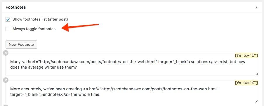 Footnotes WordPress editor