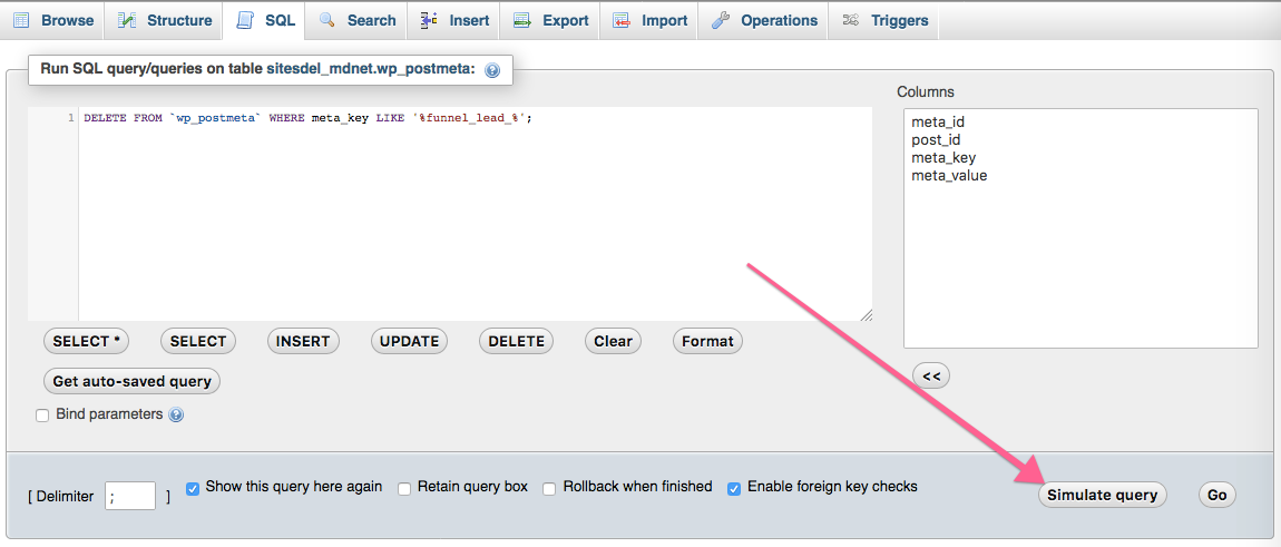 Simulate query from phpMyAdmin
