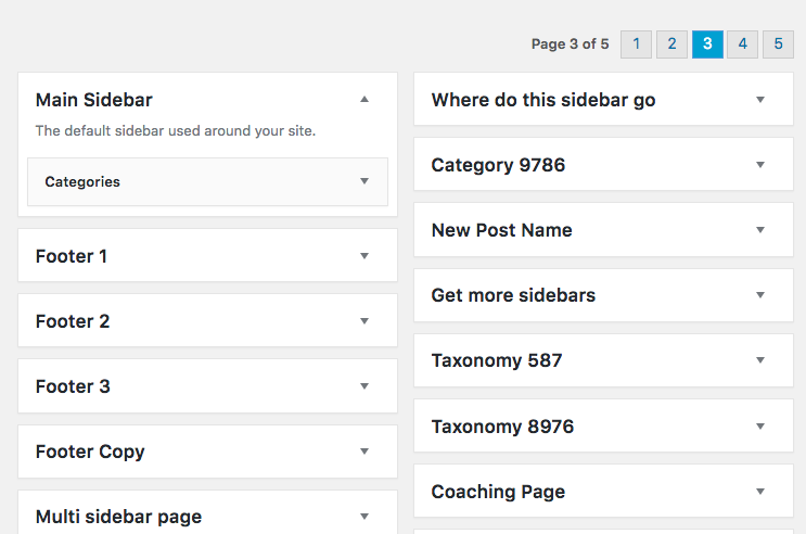 WordPress Custom Sidebars Pagination