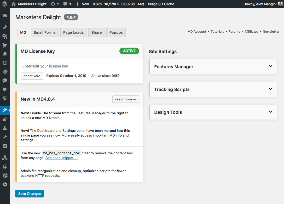 WordPress MD Admin panel redesign
