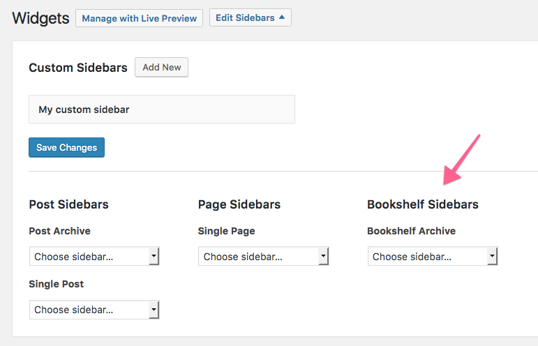 Add custom sidebars to the Bookshelf page