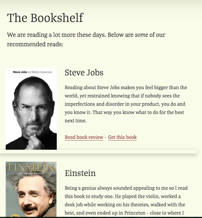 Bookshelf Excerpt view template