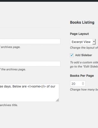 New Bookshelf settings page