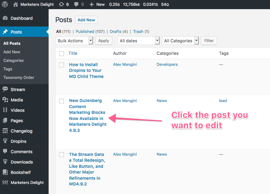 How to edit posts in WordPress