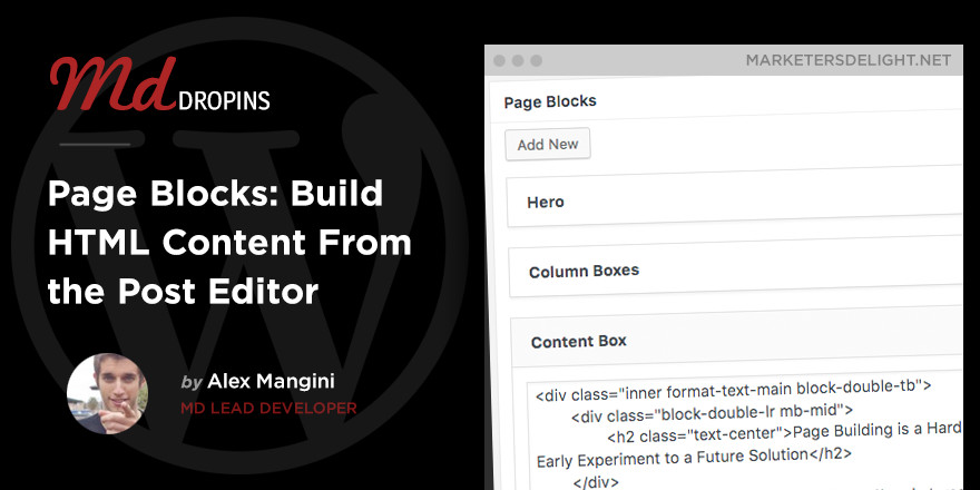 Create HTML content pages from the post editor