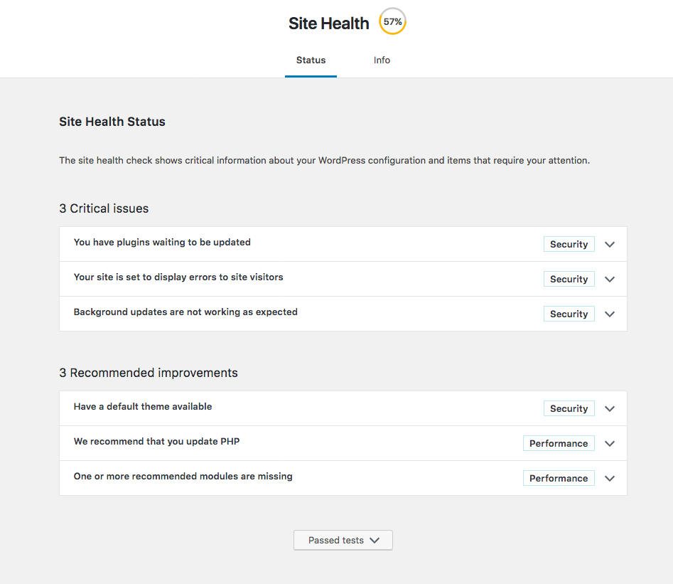 First look at Site Health in WordPress 5.2