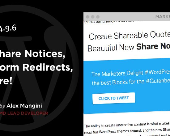 New Share Notices Block in MD4.9.6 WordPress