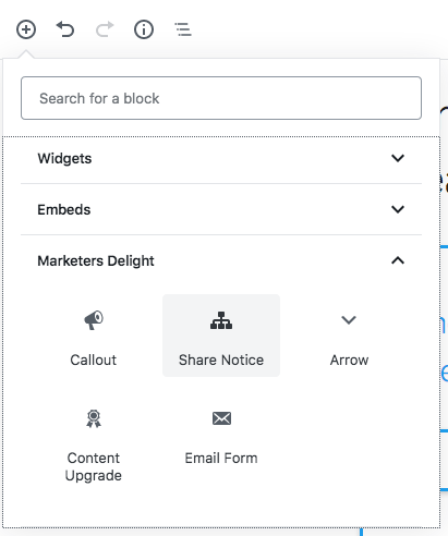 Add Share Notice Block to the Blocks Editor WordPress