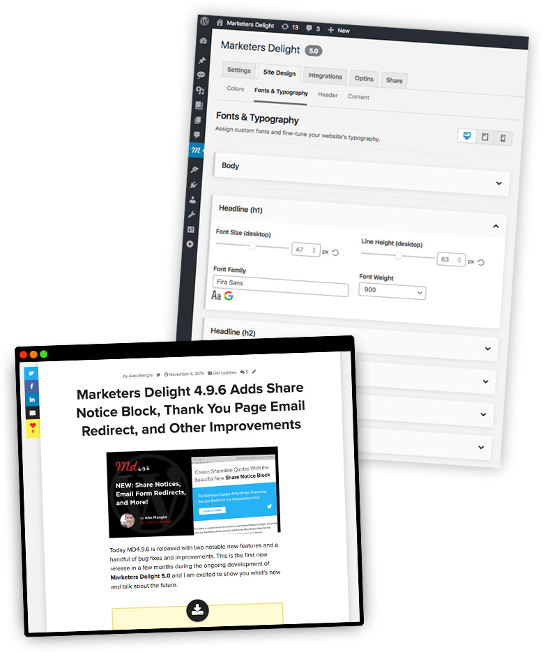 WordPress integrations in Marketers Delight