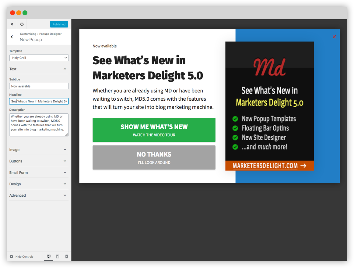 Marketers Delight Popups Designer