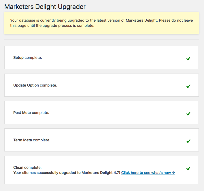 Marketers Delight 5.0 Upgrader Admin