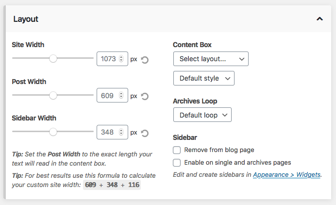 Content box design settings
