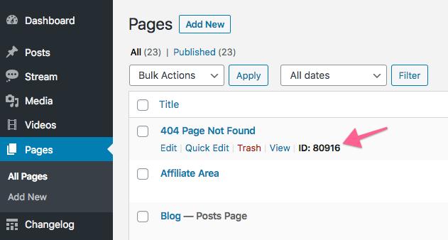 Get WordPress page ID