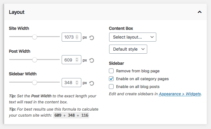 Blog and category sidebar toggle controls.