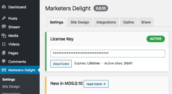 Add your MD license key