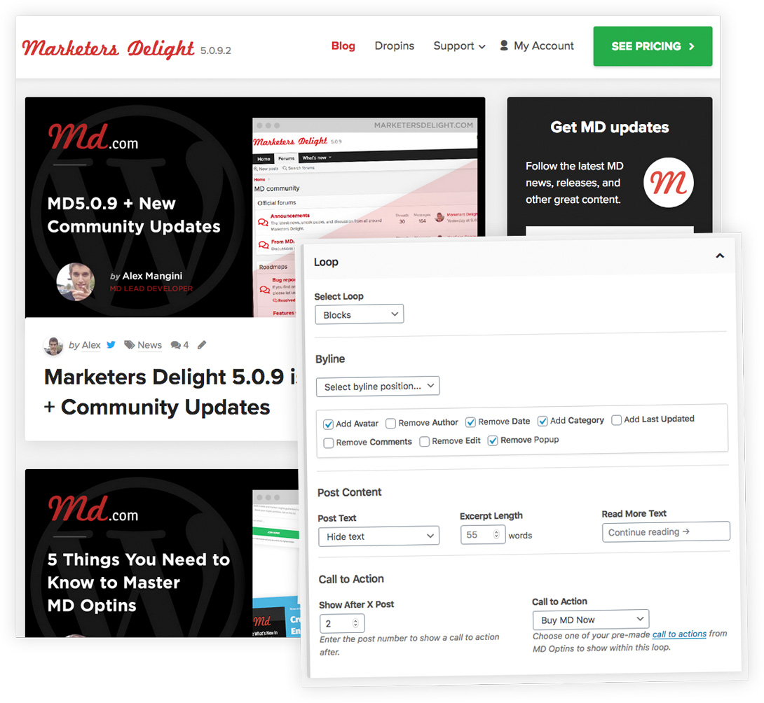 New Magic Loops example with settings in Marketers Delight WordPress Theme.