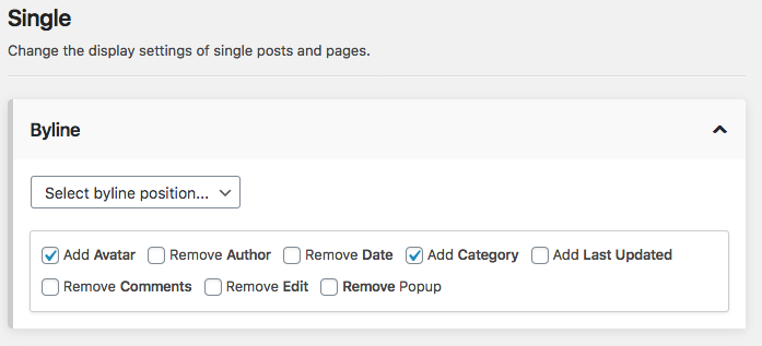 Byline single post settings