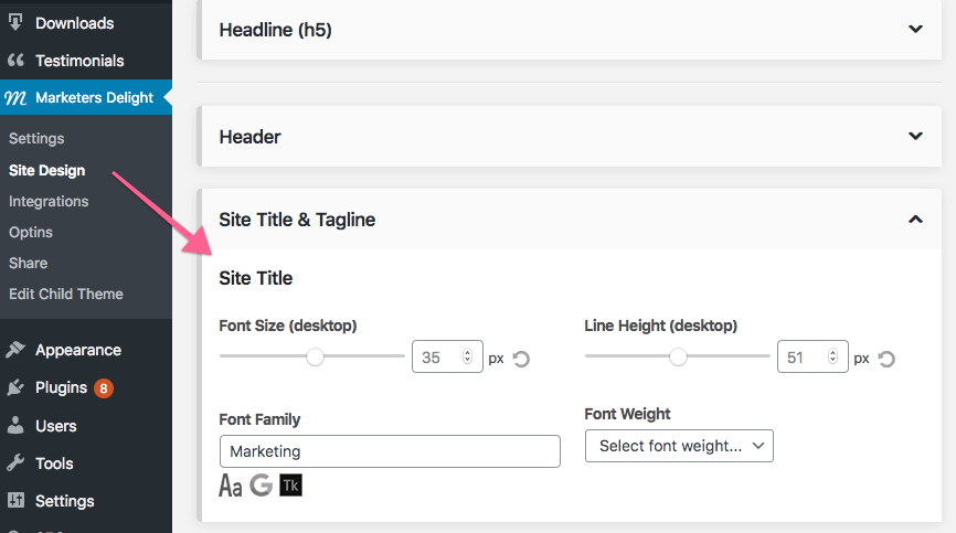 Custom web fonts in Marketers Delight