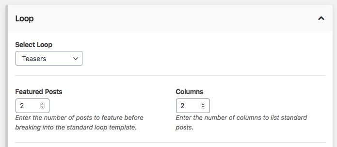Customize the teasers blog loop.