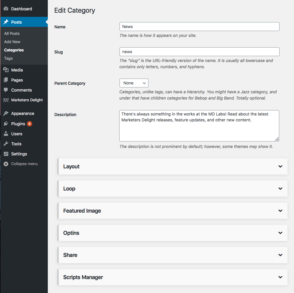 WordPress categories loop settings