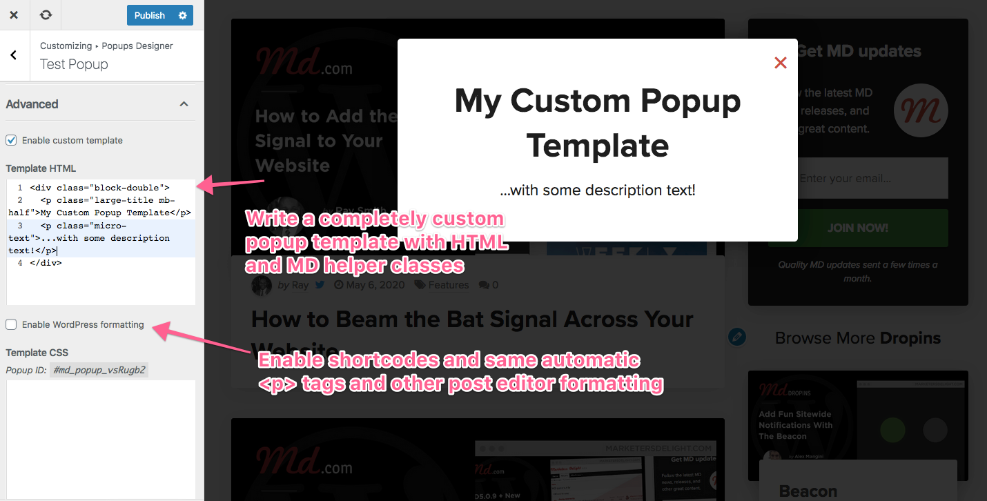 Custom popup HTML templates