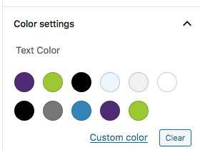 Gutenberg block editor colors