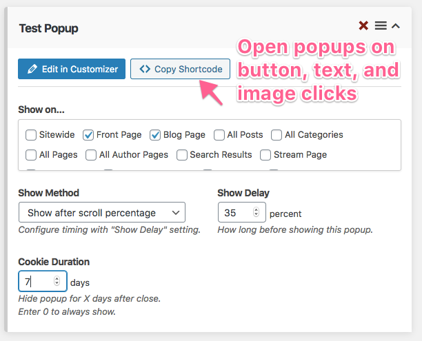 Deploy popup around your WordPress site.