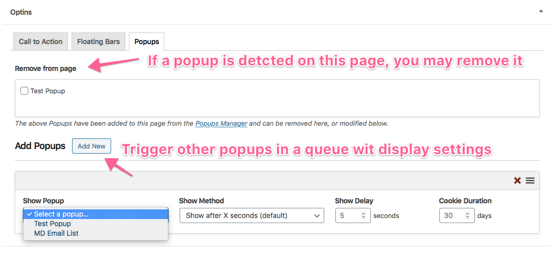 Edit popups on single WordPress pages with Popups Manager.