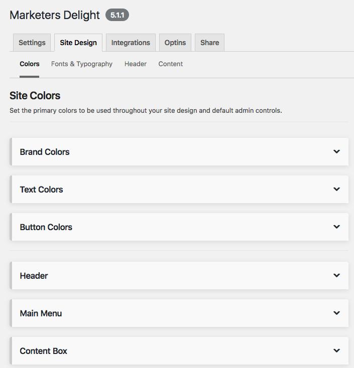MD Site design colors palette