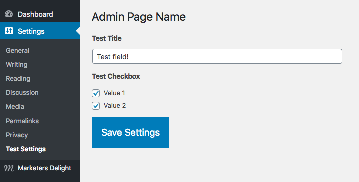 Simple admin page with MD