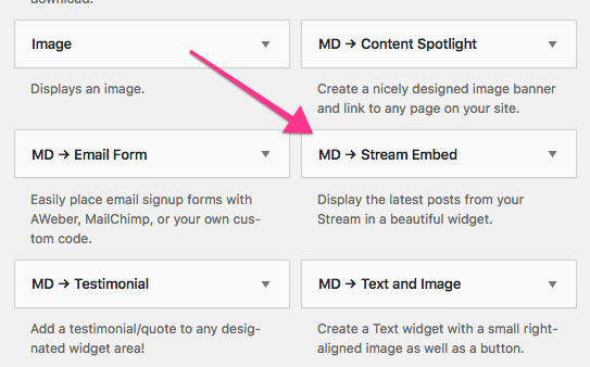 Stream Embed widget in WordPress