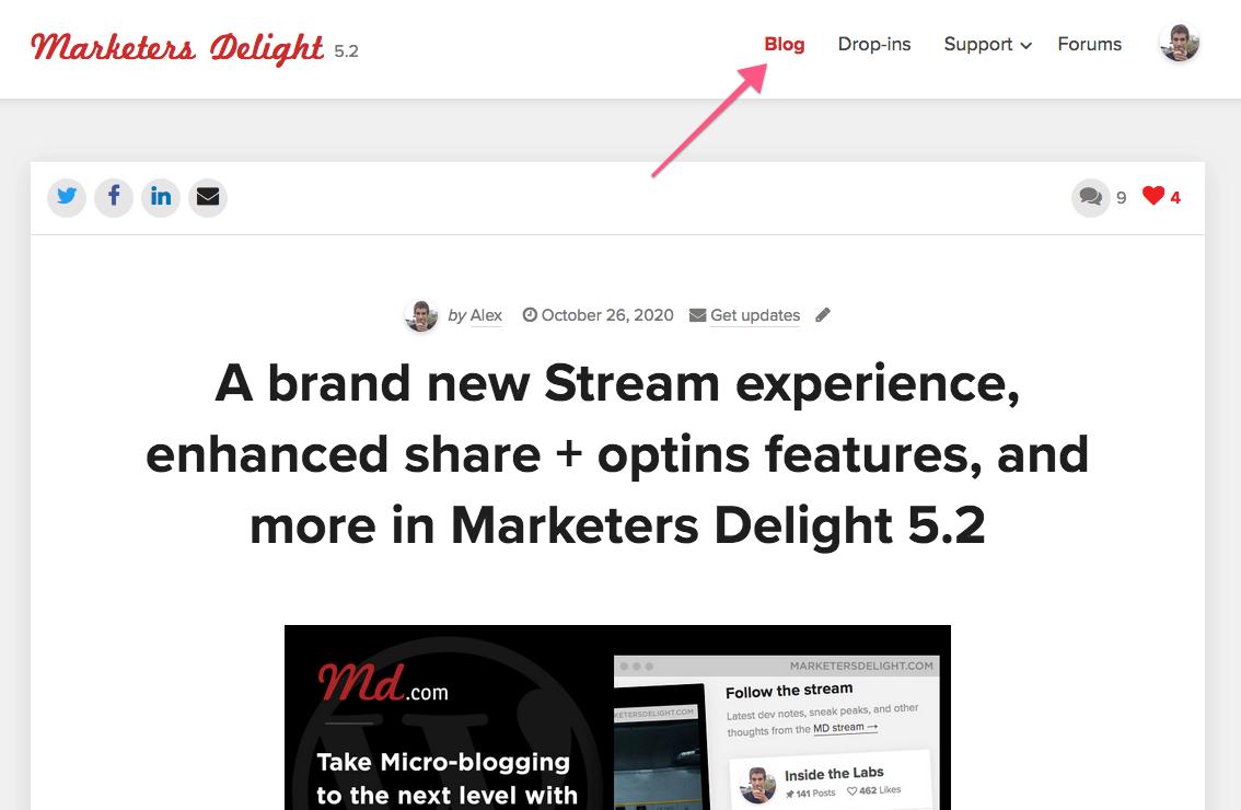 Active Blog menu link on single posts