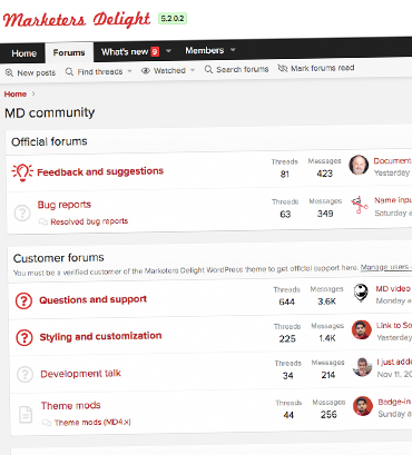 Featured site: The Marketers Delight WordPress theme support forums