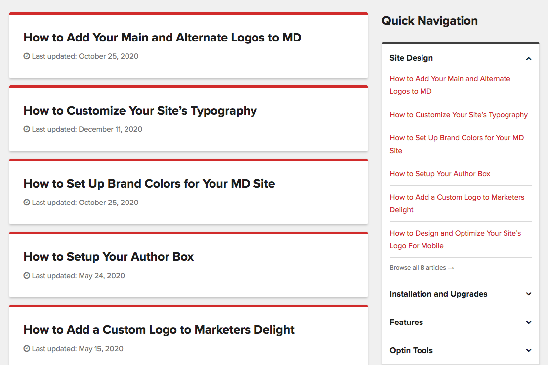Docs category page template with accordion category navigation.