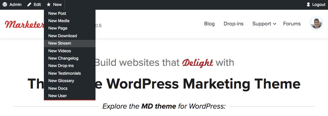 MD Admin bar dropin for WordPress